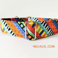 Collar perro Funky (Martingale, Hebilla o Ajustable), Collar martingale, Collar galgo, Martingale dog collar, Greyhound, Funky - 4GUAUS.COM de 4GUAUS en Etsy