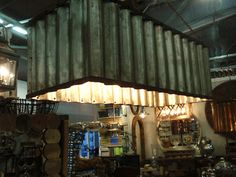industrial corrugated metal chandelier