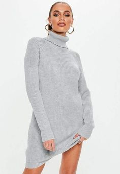 b5c8763acee Missguided Gray Chunky Turtle Neck Sweater Dress