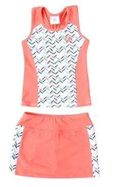 Street Tennis Club Girls¡¯ Tennis 2 Piece Breathable Dress Set - With Navy  or Coral Sleeveless Racerback Top and Tennis Skirt with Undershorts 15cef6d0e8f08