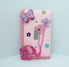 Pink Elephant, Lavender Butterfly, Flowers - Children's light switch cover - Nursery, Girls on Etsy, $22.00