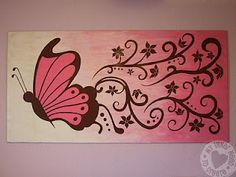 My Inner Need to Create...: Brown and Pink Butterfly and Flower Mural
