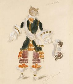 Puss-in-Boots for Sleeping Beauty, Costume design by Oliver Messel (1904-1978)   Sketch: 1945 (designed)Watercolour, gouache and pencil on paper. V & A Museum, via Philip Bewley