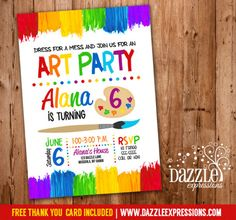 Printable Painting Art Party Birthday Invitation | Rainbow | Kids Birthday Party Idea | Painntbrush | Paint Palette | Splatter | Brush Stroke | Party Package Available | FREE thank you card included | Banner | Favor Tags | Treat Bag Toppers | Food Labels | Water Bottle Labels | www.dazzleexpressions.com
