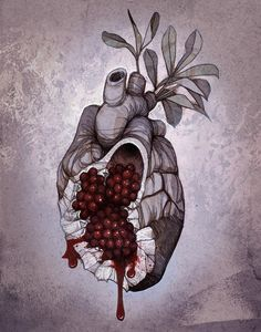 """Heart of Persephone"" by noisymouse Greek Mythology Tattoos, Greek Mythology Gods, Greek Gods And Goddesses, Roman Mythology, Pomegranate Tattoo, Pomegranate Drawing, Pomegranate Art, Hades Tattoo, Hades Aesthetic"