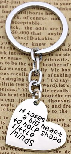 Silver Teach Learn Inspire Love Thank You Teacher Keychain Gift For Teacher CB