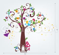 Fairy Wall Decals – Fairyland Tree with Flowers and Stars – evgie