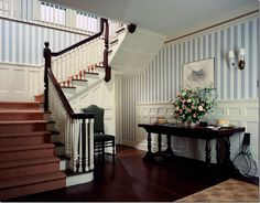 Strong stately staircase reflecting Federal Period influences.