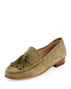 X3BBK Sam Edelman Therese Suede Tassel Loafer, Moss Green