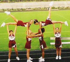 Cheerleading Featured Stunt - Grapeland Junior High Cheerleaders - Swedish Falls Pyramid. Cute and easy for a small team. Could easily add an OLE or extension behind this.