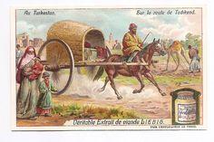 Sur la route de Tachkend - - Au Turkestan - Chromo Liebig - Trade Card