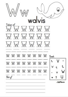 KraftiMama, Free Printables, Afrikaans Alfabet, W vir Walvis Grade R Worksheets, Letter Tracing Worksheets, Printable Preschool Worksheets, Worksheets For Kids, Free Printables, Preschool Learning Activities, Kids Learning, School Folders, Alphabet Templates