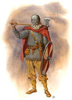 Viking with shirt of mail shield and axe ans spectacle helmet Viking Armor, Viking Helmet, Medieval Armor, Medieval Fantasy, Ancient Vikings, Norse Vikings, Viking Character, Viking Reenactment, Armadura Medieval