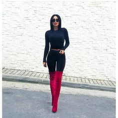 Thigh High Red Boots. Pinterest: @WithLoveReesie