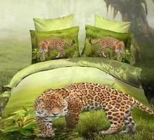 100% cotton 3D Duvet Quilt Cover Bedding Set 4pcs full Queen king green leopard