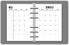 1 Monat - 2 Seiten | Kalendereinlagen in DIN A6