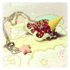 Ice Cream Narwhal necklace / chocolate /