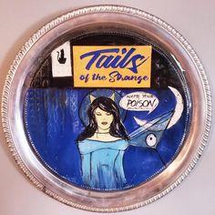 "Hep Cat Tails of the Strange series, ceramic disc inside a silverplate ""frame"". Femme fatales with a taste for danger. Cat Tails, Artworks, Ceramics, Cats, Frame, Ceramica, Picture Frame, Pottery, Gatos"