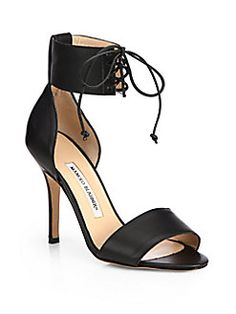 Manolo Blahnik - Olli Snake-Embossed Leather Ankle-Tie Sandals