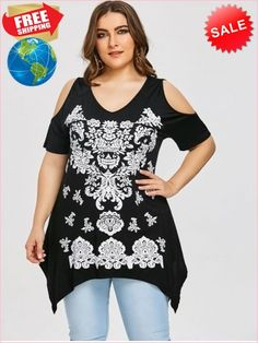 15b3eddff91 Best Prices Abra Print Plus Size Crescent Hem T Shirt 2032723  5fSLByWGFiswoM3rj6mz Cheap Sale  RoseGal