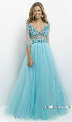 2015 New Arrival Prom Dresses A Line Scoop Tulle Open Back With 3/4 Sleeves http://www.ikmdresses.com/2014-New-Arrival-Prom-Dresses-A-Line-Scoop-Tulle-Open-Back-With-3-4-Sleeves-p83208