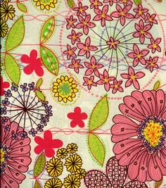 Fashion Prints- Stretch Poplin Flowers Pink Yellow