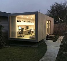 Container Office by Architect Randy Bens # office # architecture Prefab Shipping Container Homes, Shipping Container Conversions, Shipping Container Office, Converted Shipping Containers, Shipping Container Home Designs, Container House Design, Building A Container Home, Container Buildings, Container Architecture
