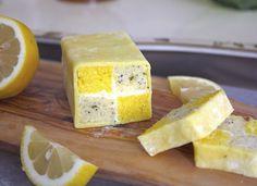 Mini lemon and poppyseed Battenberg cakes