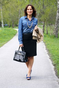 Denim shirt paired with a black pencil skirt - jeans - style over 50