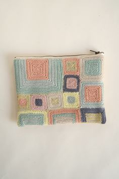 Muted colours, crochet small bag