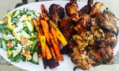 Dijon grilled chicken, grilled heirloom carrots & spinach salad