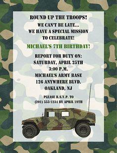 Camo 1st Birthday Ideas | Camouflage Military Army Birthday Party Invitations