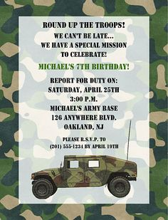 29619bacf47f9f3ee0d4440bee98f47c camoflage birthday party camo birthday free birthday party invitations free printable invitations army,Military Invitation Template
