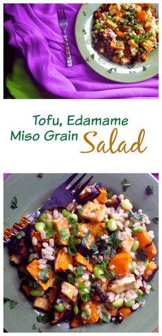 Tofu Edamame Miso Grain Salad | Vegetarian | Vegan | Gluten Free