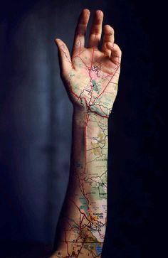 Cool Oregon map tattoo