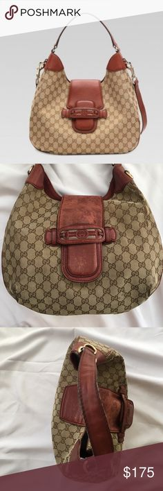 """Auth GUCCI """"Dressage"""" GG Horsebit Purse Hobo Bag 100% Authentic Gucci Dressage Monogram GG Signature Web with red leather logo and horsebit detail. Piping is in excellent shape no popped stitches or exposed piping / leather. Corners of Monogram are rubbed which if you know Gucci Is typical wear with age for their products. Backside also has rubbing but is the part that goes against you when worn. Open to REASONABLE FAIR Offers this is still authentic Gucci and was very expensive Gucci Bags…"""