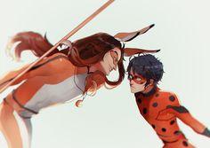Genderbent Volpina vs Ladybug...would he be called that...? (Miraculous LadyBug)