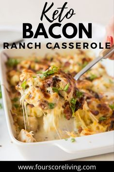A cheesy, comforting keto bacaon chicken ranch casserole that uses minimal ingredients and is simple to make. Chicken Bacon Ranch Casserole, Keto Casserole, Casserole Recipes, Quick Weeknight Meals, Easy Meals, Slow Carb Recipes, Low Carb Casseroles, Vegetable Casserole, The Ranch