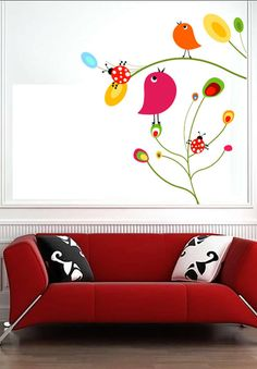 Birds and Flowers Animals Floral Flower Kids  - Vinyl Wall Decal Full Color Sticker Decor Removable Art Mural www.uBerDecals.ca B337