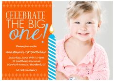 Orange and turquoise first birthday invitation from Costco