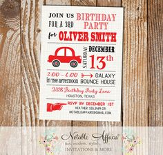 Black and Red Car Modern Birthday Party invitation on brown linen - choose your colors by NotableAffairs