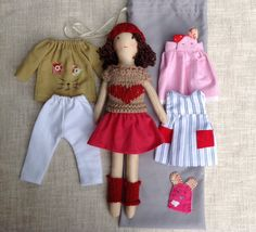 Dress up doll in bag Handmade cloth doll doll set by Dollisimo