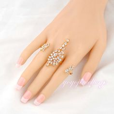 Mytys Adjustable Size Ring Free Size 2-3 Fingers Rings Palm Jewelry Accessories  Handlet R937