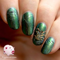 Sugar spun spider webs green polish via #piggieluv #halloween #nails #nailart #beautyapp - bellashoot.com