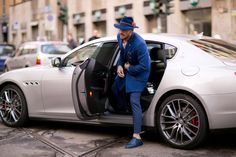 Mariano Di Vaio at the Milan Fashion week arriving with his brand new Maserati Quattroporte ! #maserati #menfashion