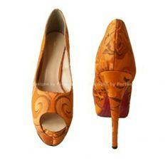 SALE Orange Peeptoe Platform Big Size Stiletto Heels Shoe