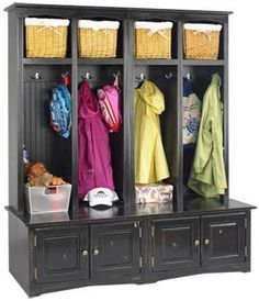 Organize your clutter, with this 4 person sit and store, comes in Maple or Oak with any color finish and different sizes.