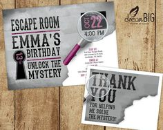 Escape Room Digital Printable Party Invitation Mystery