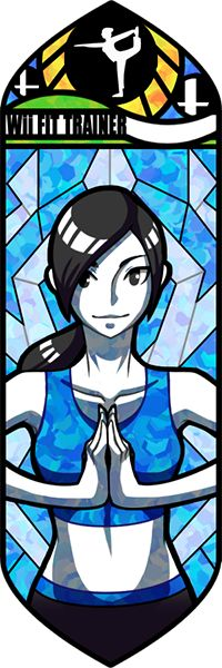 One of the best of these stained glass mosaic vector illustrations.  The Wii Fit trainer looks calm and composed and fits great against that beautifully patterned background.  The shadows she pours on herself look great and give her a great sense of symmetry, especially with the way that she's holding her hands.