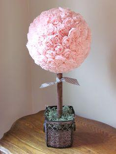 #DIY Crepe paper #rose ball - would make a lovely feminine #gift!